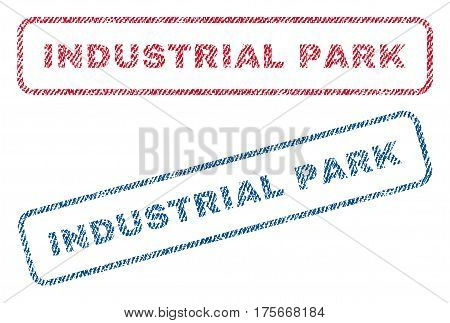 Industrial Park text textile seal stamp watermarks. Blue, red fabric vectorized texture. Vector tag inside rounded rectangular shape. Rubber emblem with fiber textile structure.