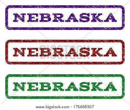 Nebraska watermark stamp. Text caption inside rounded rectangle with grunge design style. Vector variants are indigo blue, red, green ink colors. Rubber seal stamp with unclean texture.