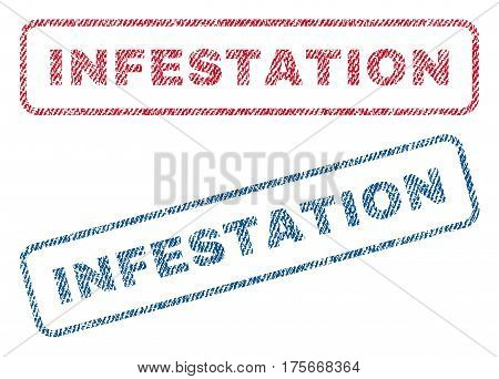 Infestation text textile seal stamp watermarks. Blue, red fabric vectorized texture. Vector tag inside rounded rectangular banner. Rubber sign with fiber textile structure.