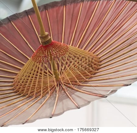 asian umbrella detail handmade decorated close up