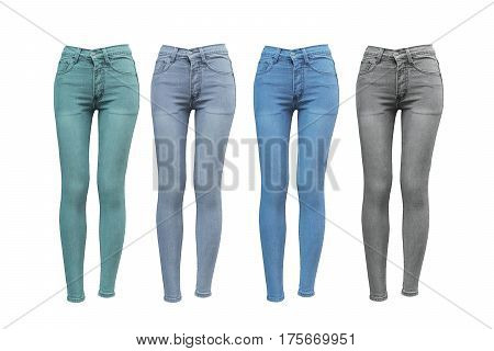 Female skinny jeans in different color isolated