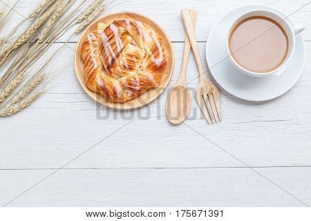 Top View Danish Pastries On White Wooden Table