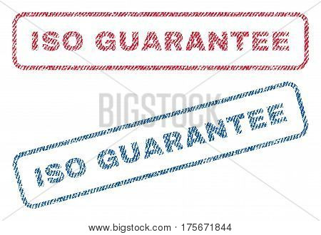 ISO Guarantee text textile seal stamp watermarks. Blue, red fabric vectorized texture. Vector tag inside rounded rectangular banner. Rubber emblem with fiber textile structure.