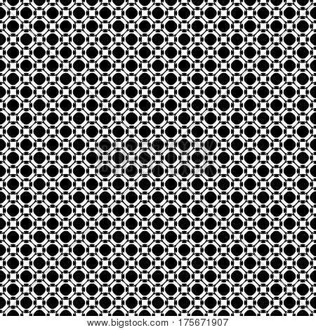 Vector seamless pattern, abstract black & white repeat texture. Simple geometric figures, perforated circles, rounded squares. Endless dark monochrome background. Design for prints, textile, fabric, clothes, wrapping, digital, web