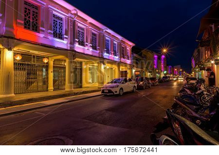 PHUKET THAILAND - JANUARY 06 2017; Soi Rommanee street. Phuket old town with old buildings in Sino Portuguese style is a very famous tourist destination of Phuket Thailand.