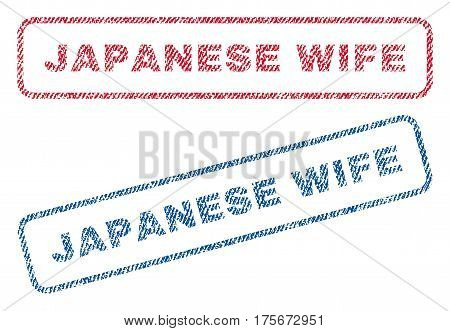 Japanese Wife text textile seal stamp watermarks. Blue, red fabric vectorized texture. Vector tag inside rounded rectangular banner. Rubber sign with fiber textile structure.