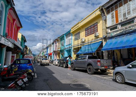 PHUKET THAILAND - JANUARY 09 2017; Soi Rommanee street. Phuket old town with old buildings in Sino Portuguese style is a very famous tourist destination of Phuket Thailand.