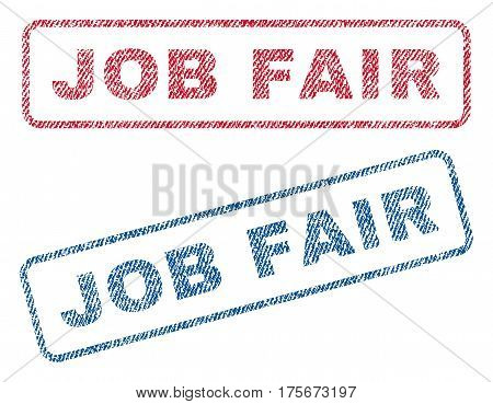 Job Fair text textile seal stamp watermarks. Blue, red fabric vectorized texture. Vector caption inside rounded rectangular shape. Rubber emblem with fiber textile structure.