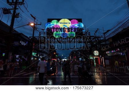 PHUKET THAILAND - JANUARY 09 2017 : Night view of the entrance of Bangla Road in walking street Patong near patong beach the most famous touristic area in the island of Phuket Thailand.