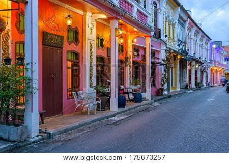 PHUKET THAILAND - JANUARY 07 2017; Soi Rommanee street. Phuket old town with old buildings in Sino Portuguese style is a very famous tourist destination of Phuket Thailand.
