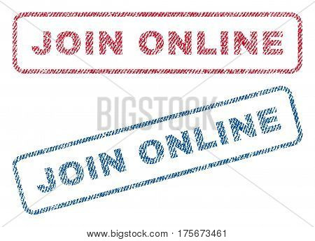 Join Online text textile seal stamp watermarks. Blue, red fabric vectorized texture. Vector caption inside rounded rectangular banner. Rubber sticker with fiber textile structure.