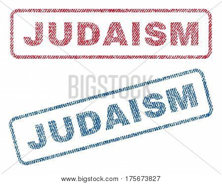 Judaism text textile seal stamp watermarks. Blue, red fabric vectorized texture. Vector caption inside rounded rectangular banner. Rubber sticker with fiber textile structure.