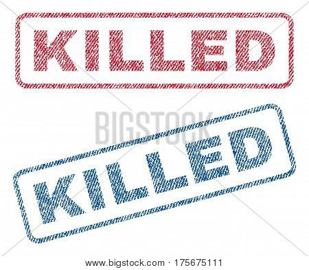 Killed text textile seal stamp watermarks. Blue, red fabric vectorized texture. Vector caption inside rounded rectangular banner. Rubber sticker with fiber textile structure.