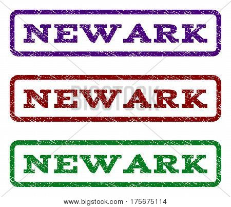 Newark watermark stamp. Text tag inside rounded rectangle frame with grunge design style. Vector variants are indigo blue, red, green ink colors. Rubber seal stamp with dust texture.