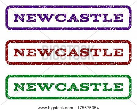 Newcastle watermark stamp. Text caption inside rounded rectangle with grunge design style. Vector variants are indigo blue, red, green ink colors. Rubber seal stamp with scratched texture.