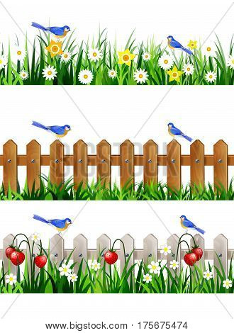 Green Grass with strawberries on wooden rustic fence background seamless isolated clip art vector on white and bluebirds set
