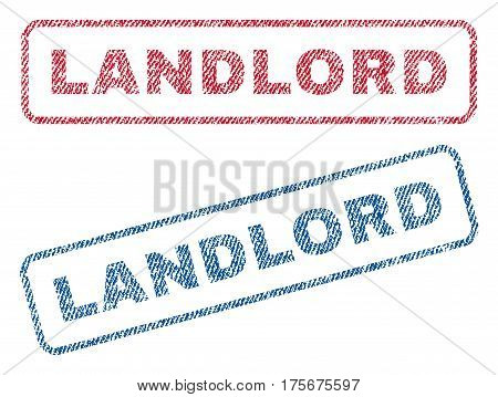 Landlord text textile seal stamp watermarks. Blue, red fabric vectorized texture. Vector caption inside rounded rectangular shape. Rubber sign with fiber textile structure.