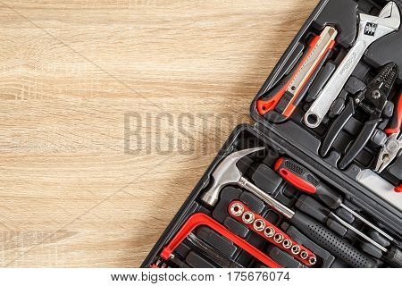 New Square Black Tool Box On Wooden Texture Background