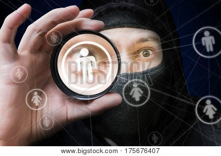 Big brother and social networks security concept. Spy is watching on user account.