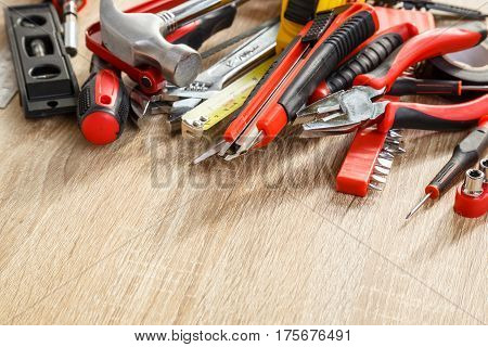 New Of Assorted Work Tools On Wood With Copy Space For Text