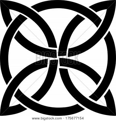celtic black knot mystic religious symbol over white