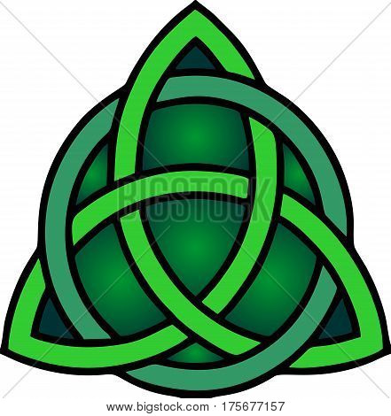 celtic green knot mystic religious symbol over white