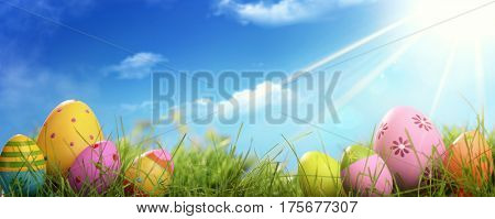 Easter eggs in field