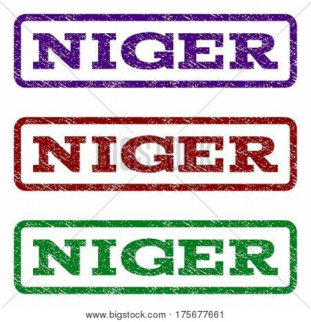 Niger watermark stamp. Text caption inside rounded rectangle with grunge design style. Vector variants are indigo blue, red, green ink colors. Rubber seal stamp with scratched texture.