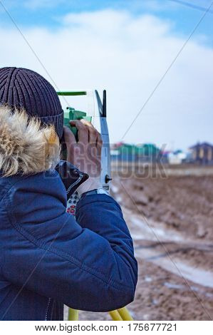 Measurement Of Land For Construction. A Theodolite.total Station