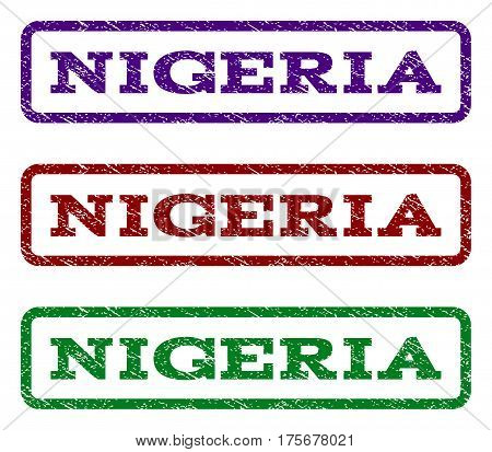 Nigeria watermark stamp. Text tag inside rounded rectangle frame with grunge design style. Vector variants are indigo blue, red, green ink colors. Rubber seal stamp with scratched texture.