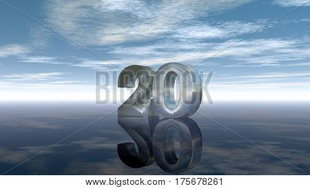 number twenty under cloudy sky - 3d rendering