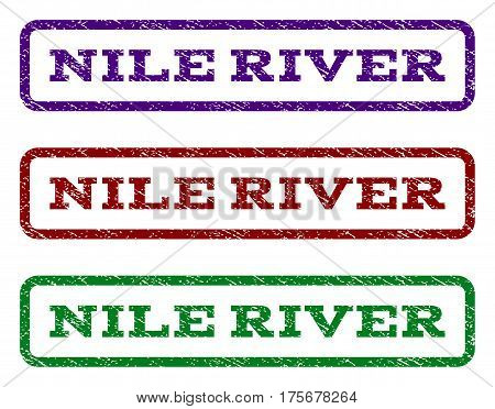 Nile River watermark stamp. Text tag inside rounded rectangle with grunge design style. Vector variants are indigo blue, red, green ink colors. Rubber seal stamp with dirty texture.
