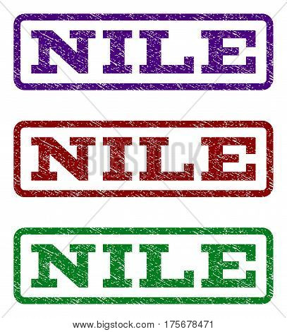 Nile watermark stamp. Text tag inside rounded rectangle frame with grunge design style. Vector variants are indigo blue, red, green ink colors. Rubber seal stamp with dirty texture.