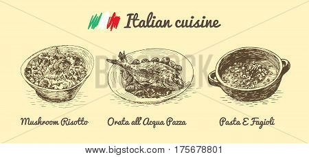 Italian menu monochrome illustration. Vector illustration of Italian cuisine.