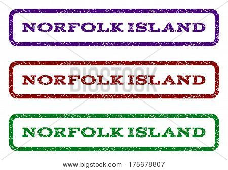 Norfolk Island watermark stamp. Text tag inside rounded rectangle frame with grunge design style. Vector variants are indigo blue, red, green ink colors. Rubber seal stamp with dirty texture.