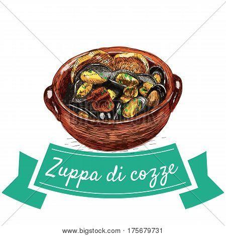 Zuppa di cozze colorful illustration. Vector illustration of Italian cuisine.