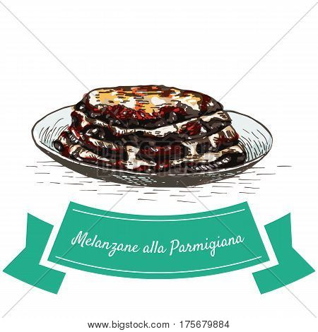 Melanzane alla Parmigiana colorful illustration. Vector illustration of Italian cuisine.