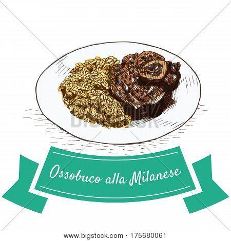 Ossobuco alla Milanese colorful illustration. Vector illustration of Italian cuisine.