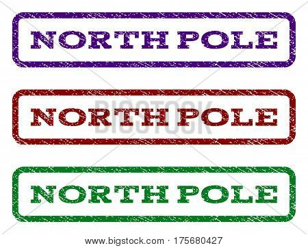 North Pole watermark stamp. Text tag inside rounded rectangle with grunge design style. Vector variants are indigo blue, red, green ink colors. Rubber seal stamp with unclean texture.