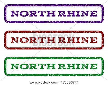 North Rhine watermark stamp. Text tag inside rounded rectangle with grunge design style. Vector variants are indigo blue, red, green ink colors. Rubber seal stamp with dust texture.