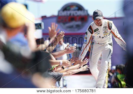 February 26, 2017 - Daytona Beach, Florida, USA: Daniel Suarez (19) gets introduced to the crowd for the Daytona 500 at Daytona International Speedway in Daytona Beach, Florida.