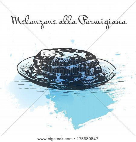 Melanzane alla Parmigiana watercolor effect illustration. Vector illustration of Italian cuisine.