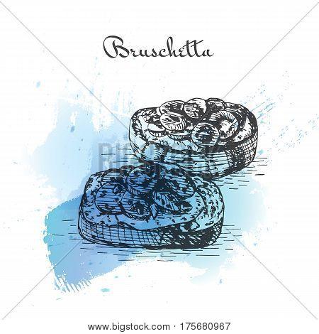 Bruschetta watercolor effect illustration. Vector illustration of Italian cuisine.
