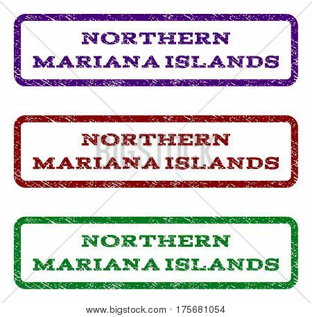 Northern Mariana Islands watermark stamp. Text tag inside rounded rectangle frame with grunge design style. Vector variants are indigo blue, red, green ink colors. Rubber seal stamp with dust texture.
