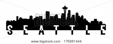 very big size seattle city skyline silhouette with text