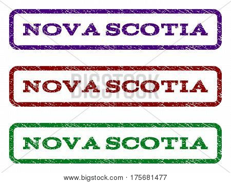 Nova Scotia watermark stamp. Text caption inside rounded rectangle frame with grunge design style. Vector variants are indigo blue, red, green ink colors. Rubber seal stamp with unclean texture.