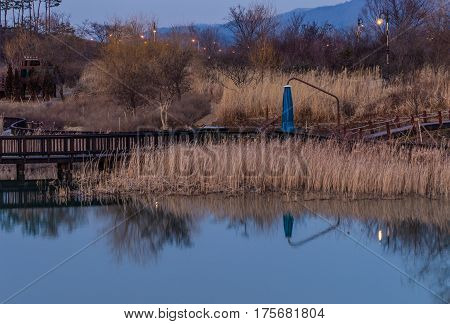 Woodland park at sunset with pond with smooth surface in the foreground and trees and mountains in the background and pole lights illuminated among the trees and a small wooden structure that says A place with a nice view in both English and Korean