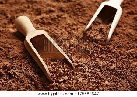 Wooden scoops on cocoa powder background