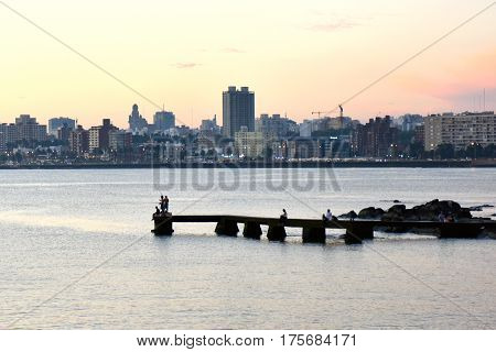 Sunset Scene Of Beach And Skyline At Background, Montevideo, Uruguay
