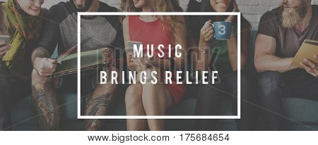 Group of People Music Brings Relief Word